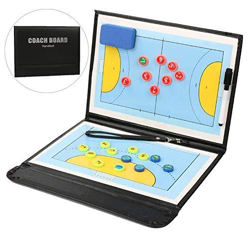 Junenoma Handball Taktiktafel, Professional Faltbares Handball Taktikmappe Taktiktafel Coachboard mit Magneten, Boardmarker, Schwamm