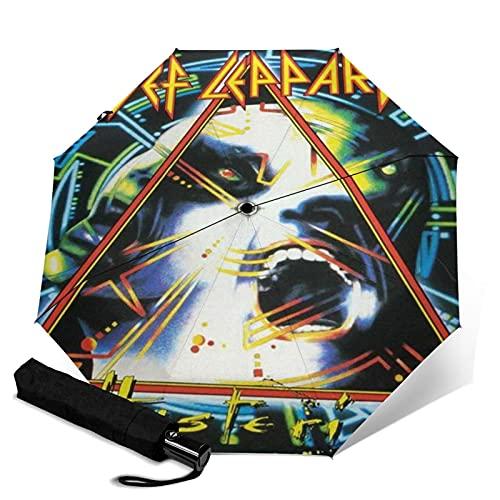 Def Leppard Paraguas automático de tres pliegues impermeable y protector solar, resistente y duradero, paraguas de viaje plegable antiultravioleta, se puede abrir y cerrar automáticamente
