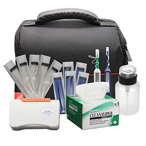 Fiber Optic Cleaning Kit Fiber Optic FTTH Cleaner Tools with 125mm / 25mm One Click Cleaner Pens and Cleaning Sticks Wipes for Cleaning FC SC ST LC MU Connectors