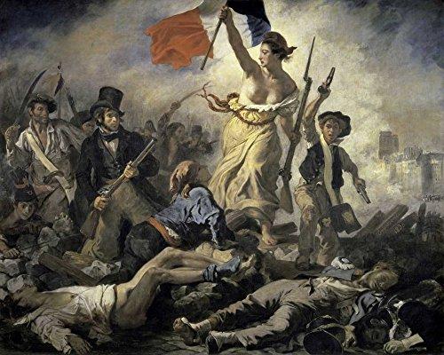 Feeling at Home Kunstdruck auf LEINWAND im SCHATTENFUGENRAHMEN Delacroix- Eugene Die Freiheit führt das Volk Leinwandbilder im moderner Holzrahmen europäisch Horizontal cm_70_X_89