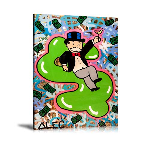 Price comparison product image Lihuaiart Alec Monopoly Inflatable Money Wall Art Home Wall Decorations for Bedroom Living Room Oil Paintings Canvas Prints 3 Sizes-317 (Framed