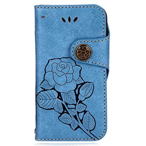 kompatibel mit Galaxy S7 Hülle,Galaxy S7 Lederhülle,Galaxy S7 Tasche Leder Flip Hülle Brieftasche Etui Schutzhülle,Rose blume Muster PU Leder Flip Hülle Handytasche Wallet Hülle Tasche,Blau