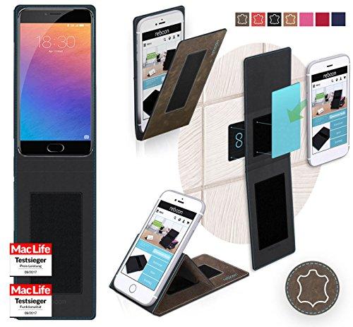 Hülle für Meizu Pro 6 Tasche Cover Hülle Bumper   Braun Wildleder   Testsieger