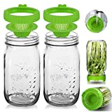 Sprout Growing Kit - 2 Wide Mouth Mason Sprouting Jar of 36oz & 2 Easy Rinse & Drain Sprouting Jar Lids - Use for Growing Organic Healthy Fresh Broccoli, Alfalfa, Mung Bean Sprouts and Salad