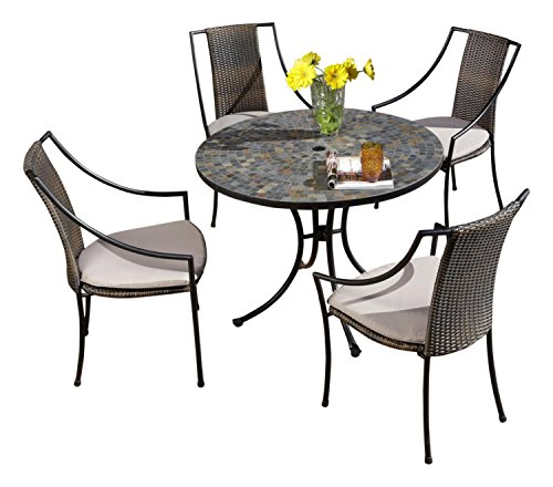 Hot Sale Home Styles 5601-3080 Stone Harbor 5-Piece Outdoor Dining Set, Slate Finish