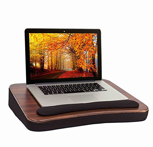 Sofia + Sam All Purpose Lap Desk (Wood top) with Memory Foam – Work from Home - Portable Laptop Book Stand – Bed Chair Couch Lap – Food Tray – Wrist Rest – Comfortable - Fits Laptops Up To 17 Inch