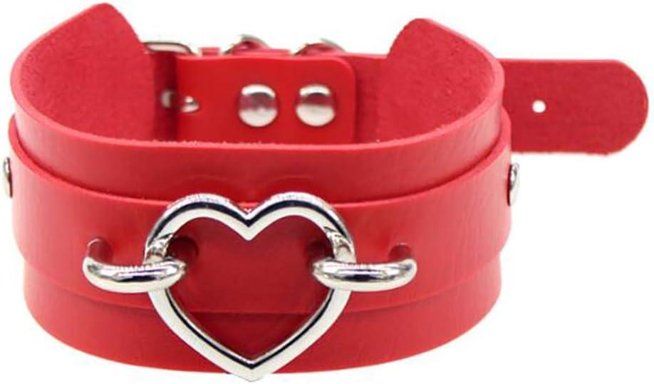 Timetries Adjustable High Neck Belt Heart Choker Necklace Punk Collar for Women Girls Adult Kids, red