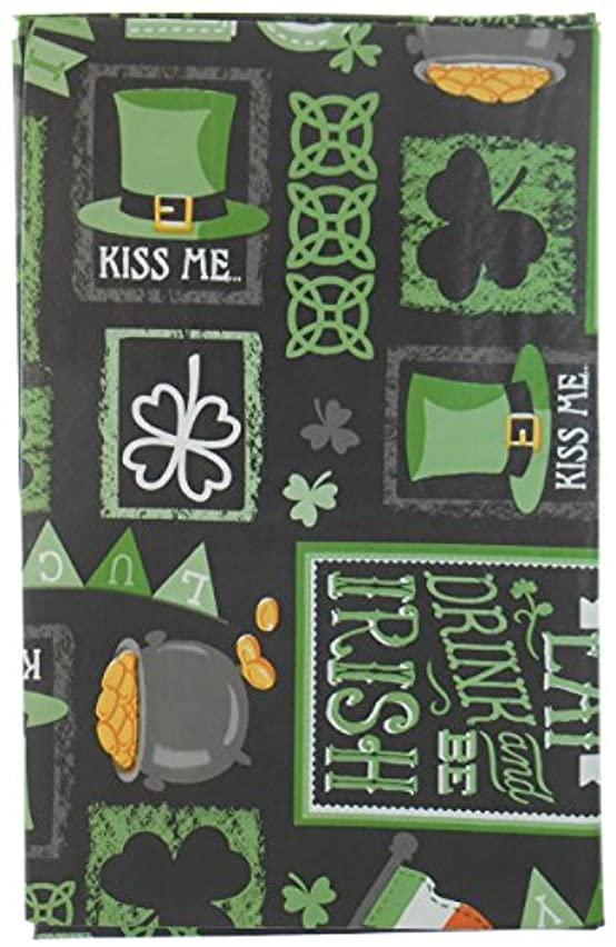 Chalkboard St. Patrick's Day Vinyl Tablelcloth with Clovers, Horseshoes, Leprechaun's Hat, Pot O' Gold, Irish Flag and More - Flannel Backing 52x70