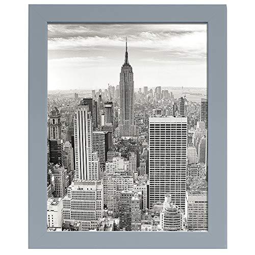 Fabian Roo Moderno - Cornice portafoto in legno massiccio con staffe da parete, orizzontali o verticali, formato A3, colore: Grigio