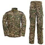 Men's Tactical Jacket and Pants Military Camo Hunting ACU Uniform 2PC Set (Large, CP)