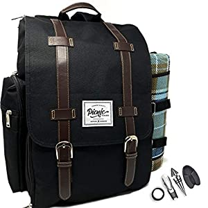 Picnic Paradise Co Picnic Backpack for 4 with Waterproof Picnic Blanket...