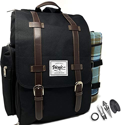 Picnic Paradise Co Picnic Backpack for 4 with Waterproof Picnic Blanket - Includes Wine Glasses & Accessories, Cutlery, Plates, Napkins, Cheese Board, S/P Shakers