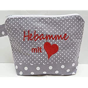 bestickte KOSMETIKTASCHE HEBAMME mit Herz /16/ – Kulturtasche – Tasche – Schminktasche – Makeupbag – bag express…
