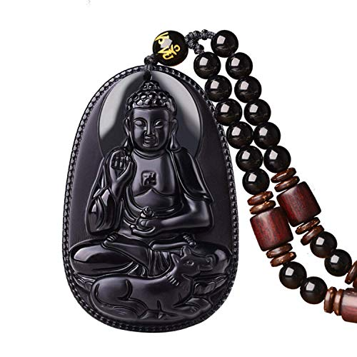 100% Pure Obsidian Natural Pendant Necklace Zodiac Bodhisattva Amulet Talisman (Amitabha-dog)