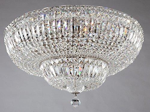 Lámpara de Techo de Cristales estilo barroco, classoco,de metal color níquel antiguo y tulipas de cristal, bombillas no incl, 16x E14 60W 220 V -240 V