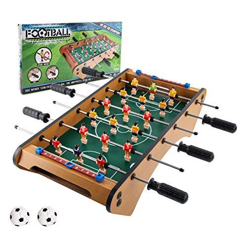 Rubyu-123 Futbolín de Mesa Juego Mesa de Fútbol Madera, Mini Juego para Niños y Adultos, Resistente y Duradero, Fácil de Almacenar, Juguetes Interactivos