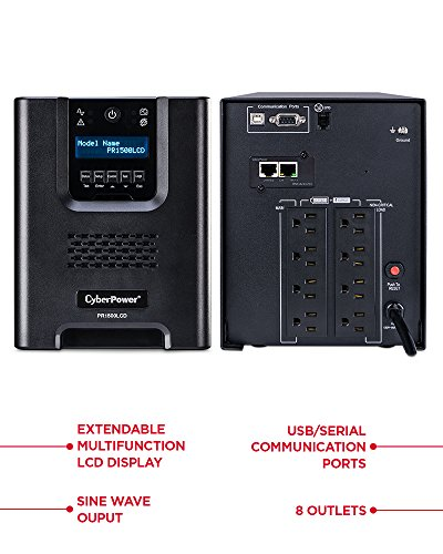 CyberPower PR1500LCDN Smart App Sinewave UPS System, 1500VA/1500W, 8 Outlets, AVR, Mini-Tower with Network Card (RMCARD205),Black