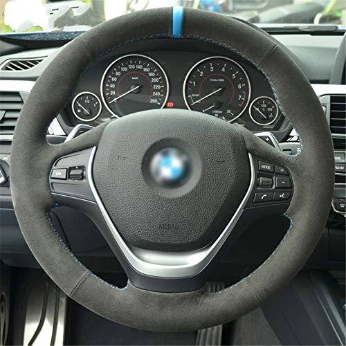 LUOERPI Cubierta del Volante Alcantara Negra Cosida a Mano, para BMW 316i 320i 328i 320d F20 F45 F30 F31 F34 F32 F33