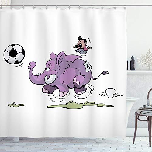 ABAKUHAUS Elefant Duschvorhang, Elefant, der Fußball spielt, Seife Bakterie Schimmel & Wasser Resistent inkl. 12 Haken & Farbfest, 175 x 220 cm, Lila weiß