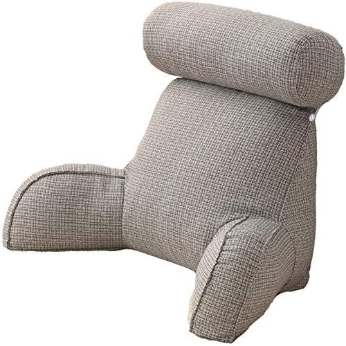Cojín de lectura con reposabrazos, cojín de lectura con respaldo y cómodo cojín reposacabezas, para cama, sofá, TV (gris)