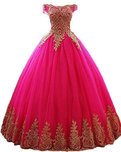 Onlybridal Women's Dress Gold Lace Long Party Prom Ball Gowns Plus Size