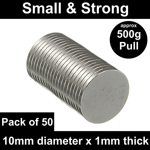 POWER MAGNET STORE 50 Very Strong Neodymium Disc Magnets (10mm x 1mm)