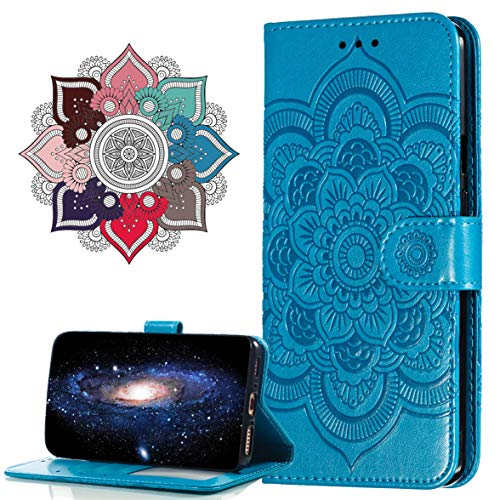 MRSTER Funda para Nokia 3.1 Plus, Estampado Mandala Libro de Cuero Billetera Carcasa, PU Leather Flip Folio Case Compatible con Nokia 3.1 Plus 2018. LD Mandala Blue
