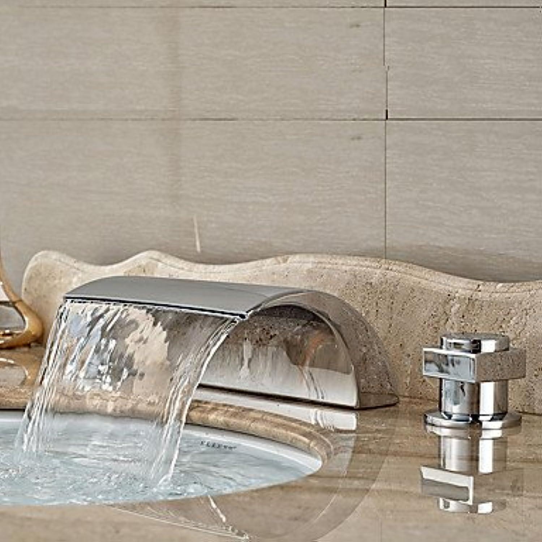 SQL Art Deco Retro weit verbreitete Wasserfall mit Keramik Ventil zwei Griffen drei Lcher für Chrome. Waschbecken Wasserhahn