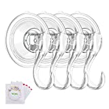 VIS'V Wreath Hanger, Large Clear Reusable Heavy Duty Wreath Hanger Suction Cup with Wipes 22 LB Strong Window Glass Suction Cup Hooks Wreath Holder for Halloween Christmas Wreath Decorations - 4 Packs