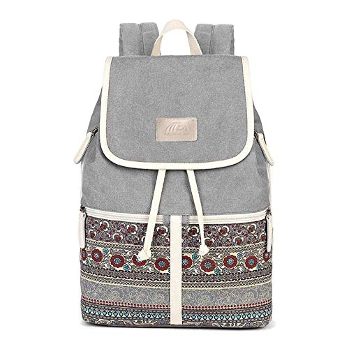 MojiDecor Bohemian Canvas Backpack Rucksack Women Laptop Backpack Girls Casual Backpack...
