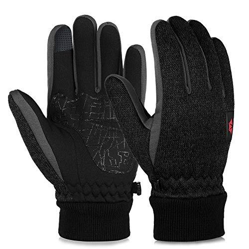 Vbiger Touchscreen Handschuhe Fleece Handschuhe Winterhandschuhe Warme Handschuhe Sporthandschuhe, Dunkelschwarz, M