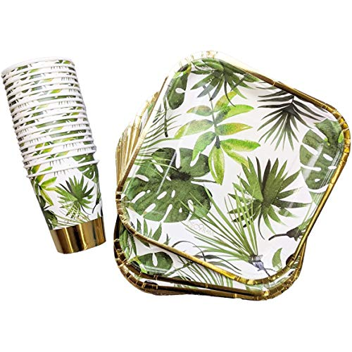 DECORAMI 36-TLG. Premium Partygeschirr Set | für 18 Personen | Pappgeschirr Set | Party Dekoration | Einweggeschirr | aus Papier/Pappe, nachhaltig | Palmblatt Print | weiß grün Gold Tropical