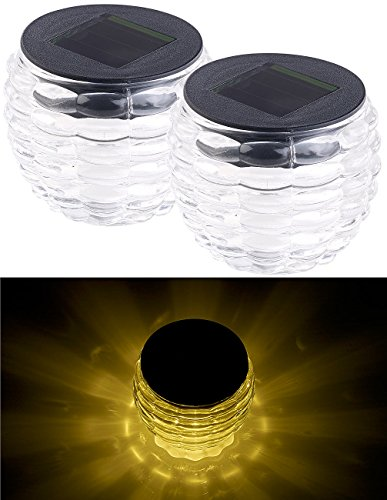 Lunartec Solar Lichter: 2er-Set Solar-LED-Windlichter Liora, Glas, Lichtmuster, IP44, Ø 8 cm (Windlicht Solarleuchte)