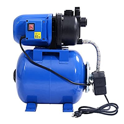 Goplus 1.6HP Shallow Well Pump & Tank Garden Water Pump Pressurized Home Irrigation 1000GPH, 1200W