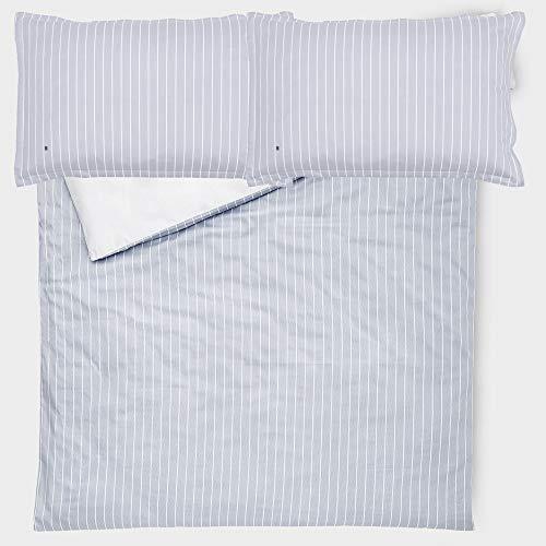 Juego de funda nórdica Tommy Hilfiger Audrey para cama de matrimonio de 2 plazas de raso de 110 hilos de satén, funda + 2 fundas de almohada sin sábana bajera (gris)