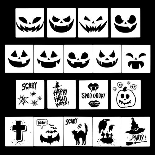 Finelnno 18 Pcs Plantillas para Pintar Muebles Halloween Painting Template Stencils Plantillas Decorar Muebles,Paredes,Calabaza,Decoupage (18PCS)