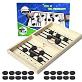 Pruk Fast Sling Puck Game, Desktop Wooden Hockey Game, Classic Parent-Child Interactive Toys, Board Games for Adults, Foosball Winner Game for Kids