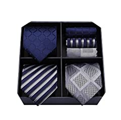 Idea Regalo - HISDERN Lotto 3 PCS Cravatta da uomo Fazzoletto Seta Classico di matrimonio Cravatte & Pocket Square -Set multipli