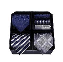 Idea Regalo - HISDERN Lotto 3 PCS Cravatta da uomo Fazzoletto Seta Classico di matrimonio Cravatte & Pocket Square -Set multipli