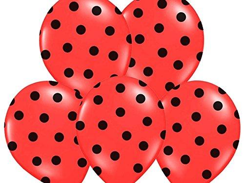 SiDeSo® 10 Luftballons mit Punkten Heliumgeeignet Party Geburtstag Jahrestag (rot mit schwarzen Punkten)