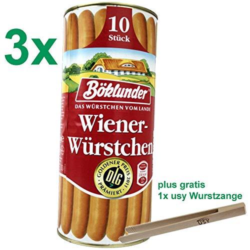 Böklunder Wiener Würstchen PARTYPACK (3x900g Konserve) = 30 Würstchen und usy Wurstzange