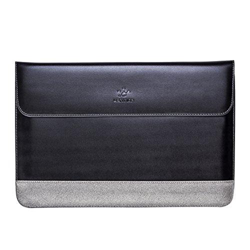 LENTION aus Spaltleder für MacBook Pro 15-Zoll (Retina, Mitte 2012-2019), Dell XPS 15, Lenovo, Asus, Premium Tragetasche mit Magnetverschluss für 15-15,6 Zoll Laptops und Tablets (Schwarz mit Grau)