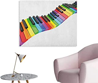 Anzhutwelve Music Photo Wall Paper Vibrant Colored Piano Keyboard Wave Musician Arts Entertainment Harmony Instrument Poster Paper Multicolor W48 xL32