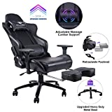 KILLABEE Gaming Chair Racing Office Chair - Adjustable Massage Lumbar Cushion, Retractable Footrest