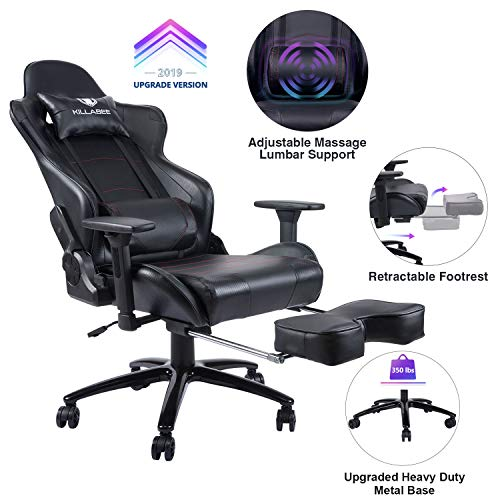 KILLABEE Massage Gaming Chair Racing Office Chair - Adjustable Massage Lumbar Cushion, Retractable Footrest and Arms High Back Ergonomic Leather Computer Desk Swivel PC Chair with Metal Base, Black