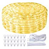 SHPODA 66ft/20m 720 LEDs Rope Lights,3000K Warm White,Plugin 110V,Waterproof Indoor Outdoor LED Rope String Lights for Garden Patio Wedding Party