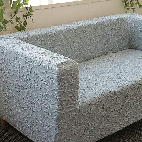 GOYOO Jacquard Sofabezug für IKEA Klippan, Sofa Überwürfe Einfarbig Elastischer Weich Stoff,Blue Gray,1 Seater