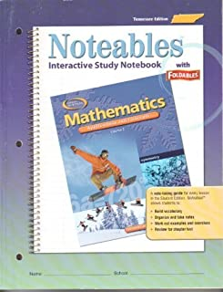 Tennessee Student Edition Noteables Interactive Study Notebook With Foldables (Glencoe Mathematics Applications and concepts Course 2)