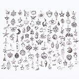 Plata Tibetana Colgantes Plata Antiguos, 100 piezas Abalorios de Plata de Estilos Retro para Crear Joyas Llaveros Pulseras Collares Pendientes Joyería con Accesorios de Decoración Artesanal