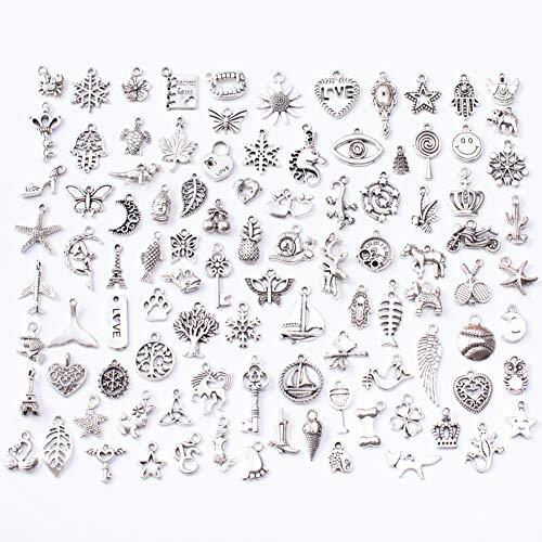 GOODGDN 100PCS Ciondoli Misti Bigiotteria Charm Stili per Gioielli Fai da Te Assortiti Ciondoli per Gioielli Fai da Te Collane Bracciali Orecchini Regali a San Valentino